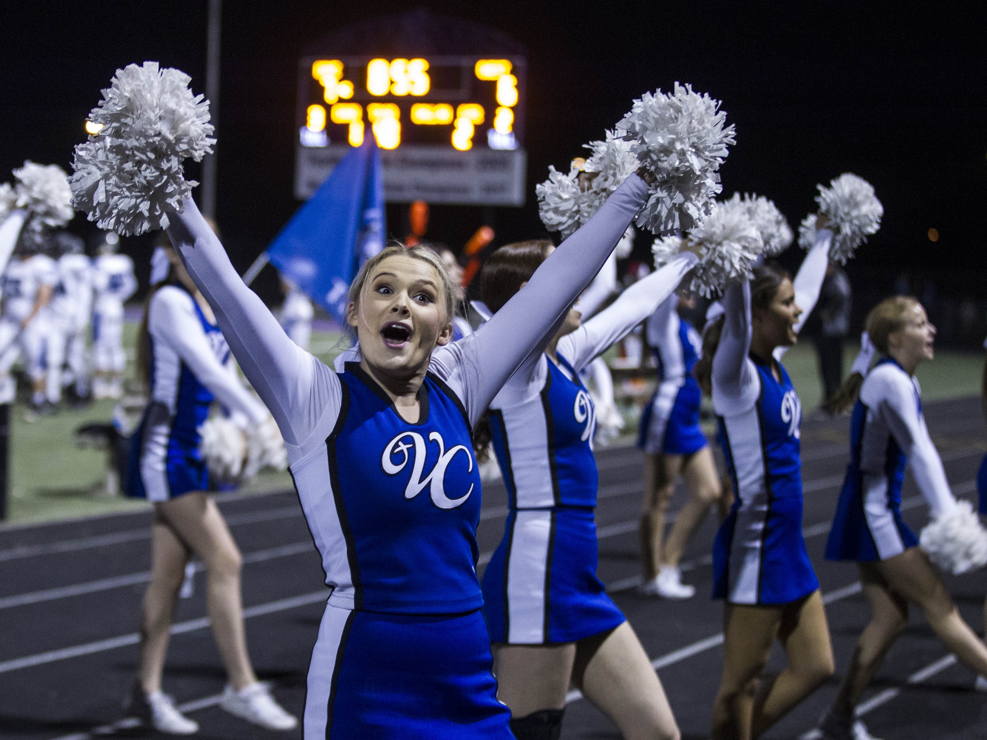 Valley Christian cheerleaders do their thing after they scored against Northwest Christian during their game with Valley Christian at North Canyon High School in Phoenix  Friday, Nov.17, 2018. #azhsfb