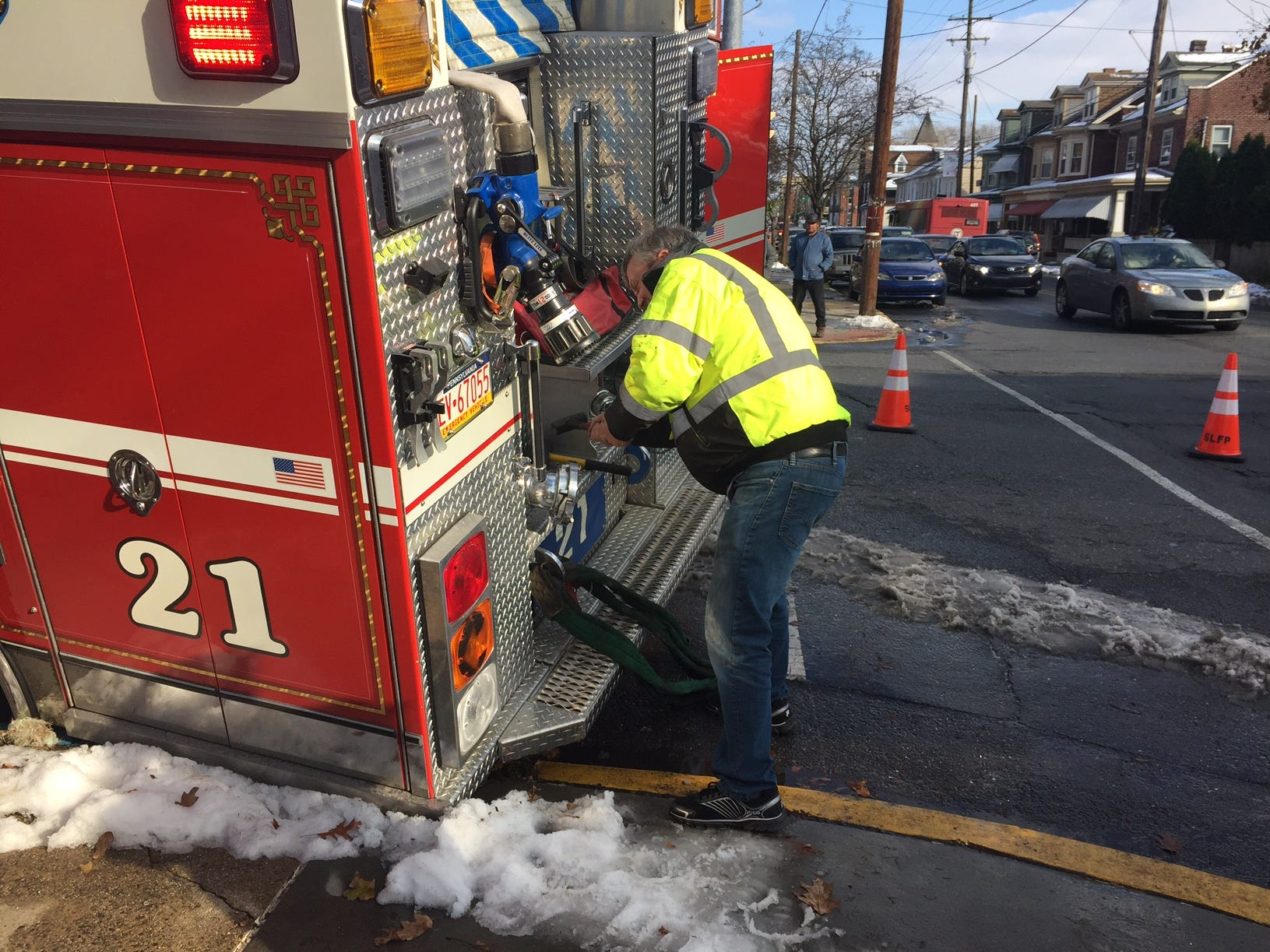 A Lebanon firetruck got its left rear wheel stuck on Saturday afternoon at the intersection of N. 9th and Lehman streets. A tow truck was needed to get the truck out of its predicament.