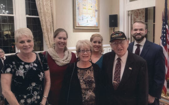 Several of Harold Angle's family members attended the Legion of Honor award ceremony on Nov. 8, 2018, at the French Ambassador's home in Washington D.C. Pictured are, from left: Sharon Metzler (Angle's daughter), Kirsten Anzaldua (granddaughter), Linda Miller (daughter), Casey Grey Applegate (granddaughter) and Michael J. Applegate (grandson).