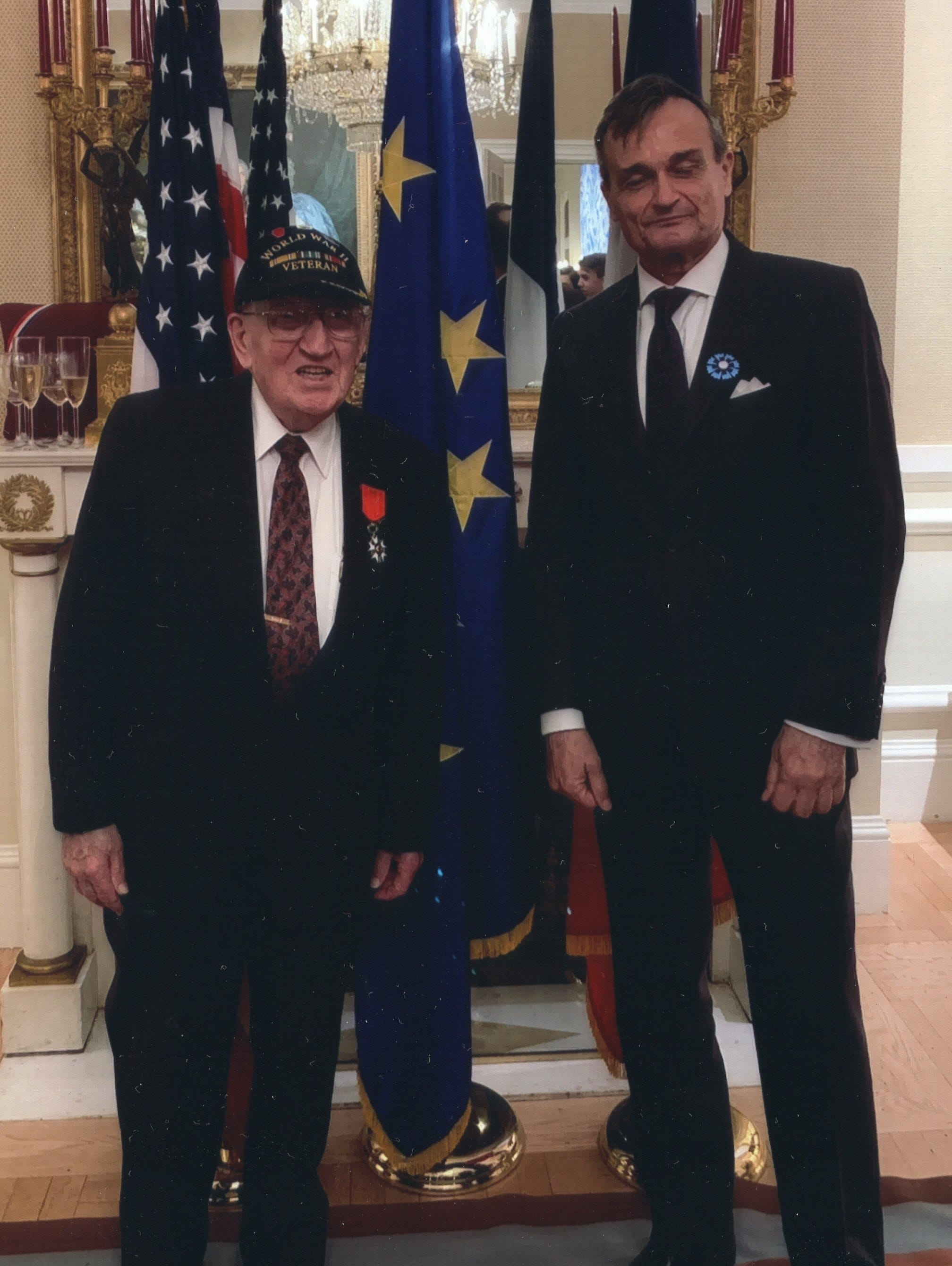 Harold Angle with the French Ambassador, Gerard Araud, at the Legion of Honor ceremony in Washington D.C. on Nov. 8, 2018.