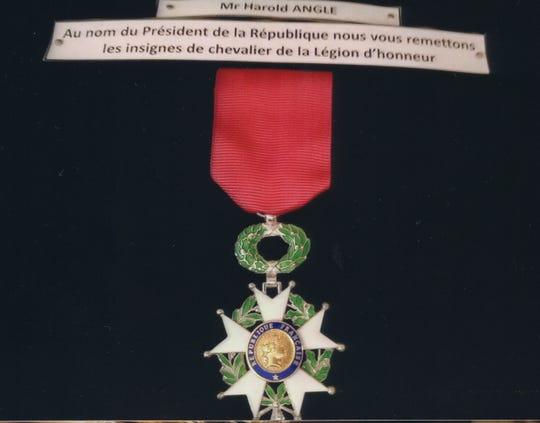 World War II veteran Harold Angle's Legion of Honor award.