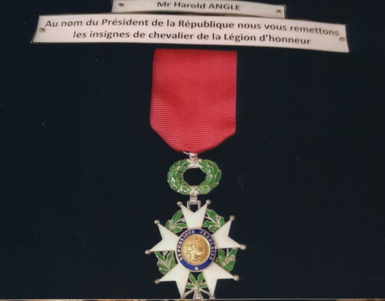 World War II veteran Harold Angle's Legion of Honor award.