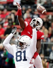 Cam Sullivan-Brown (81) is shown here in action this season against Rutgers.