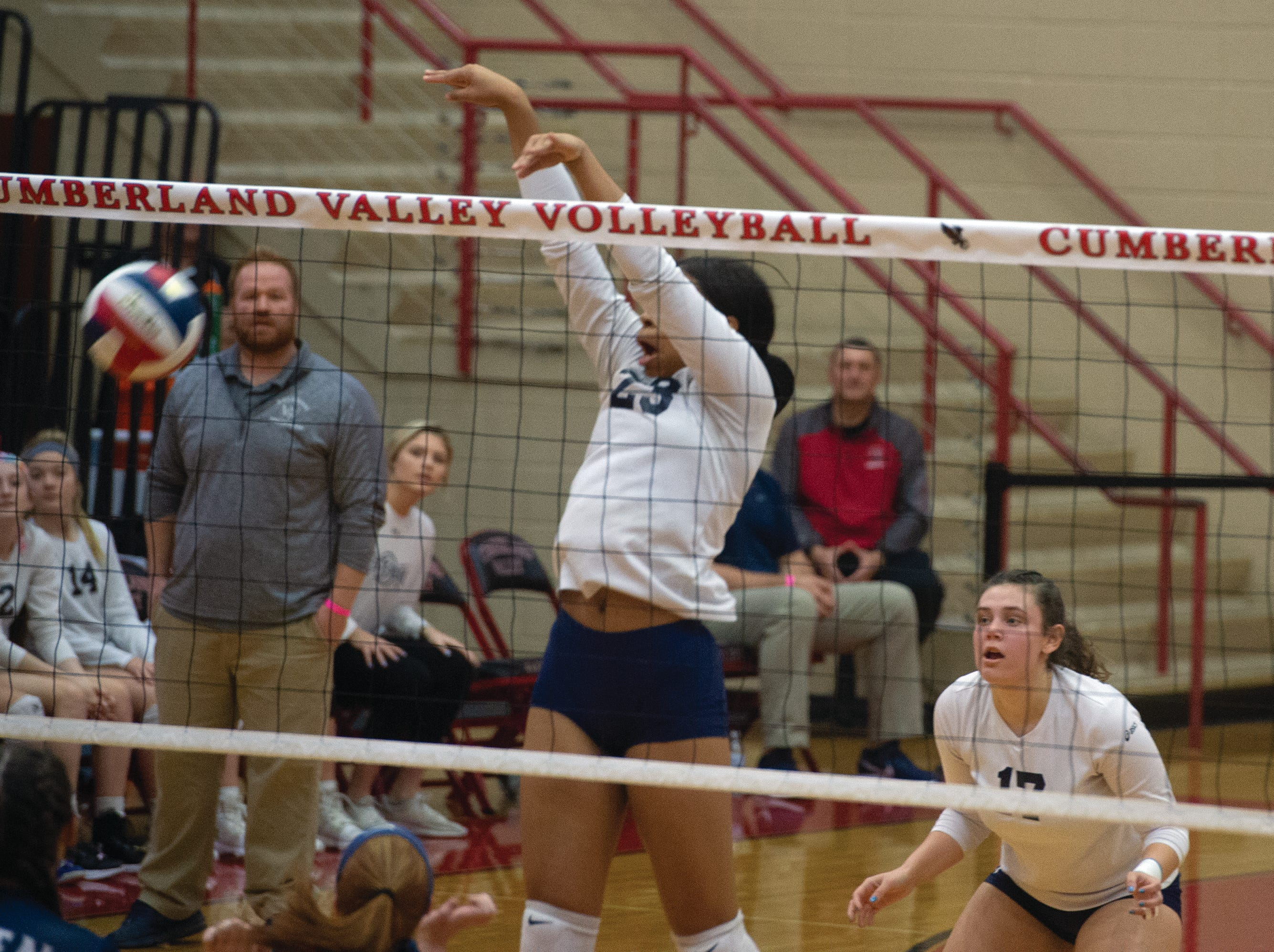 West York's Alayna Harris collects a solo block on a Warren overset in the first game of the Bulldogs' 3-0 win in the PIAA Class 3A girls' volleyball championship. The match was played Saturday, Nov. 17, 2018 at Cumberland Valley High School.