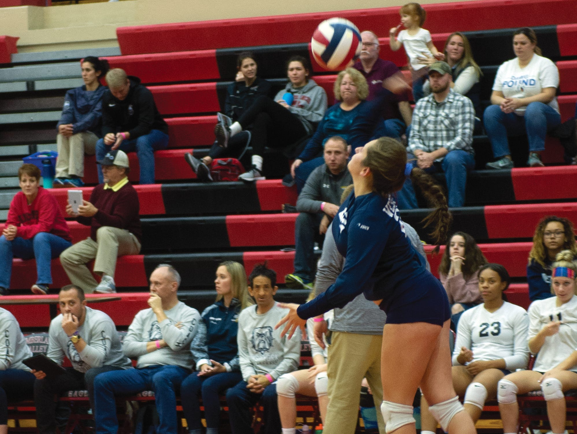 West York libero Kambrie Hepler serves in the final game of the Bulldogs' 3-0 win over Warren in Saturday's PIAA Class 3A girls' volleyball championship at Cumberland Valley High School.