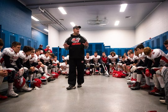 In this file photo, the Bermudian Springs Eagles listen to their head coach, Jon DeFoe, in the locker room before the first half of the District 3 Class 3A championship game between Bermudian Springs and Middletown, Saturday, Nov. 17, 2018, at Cedar Crest High School.