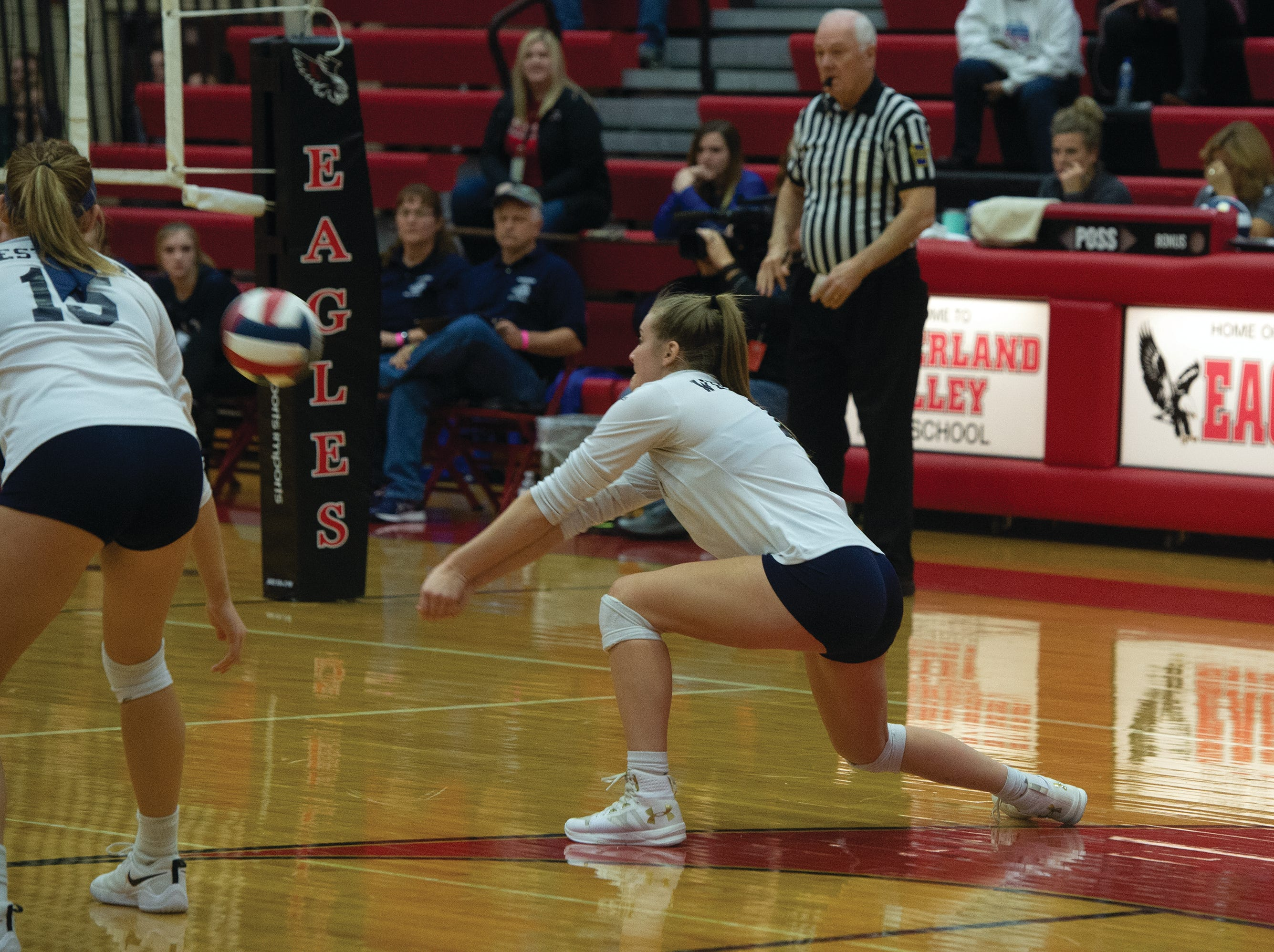West York's Georgianna Kahley prepares to pass a Warren serve near the end of Saturday's PIAA Class 3A girls' volleyball championship at Cumberland Valley High School.