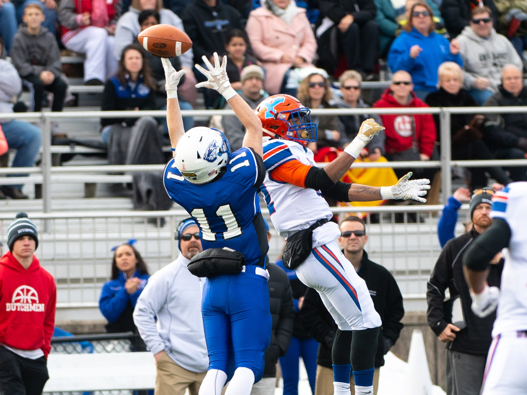 Cocalico's Seamus Finnegan (11) narrowly misses the catch during the District 3 Class 5A football semifinal between York High and Cocalico at Manheim Central High School, November 17, 2018. The Eagles defeated the Bearcats 61 to 35.