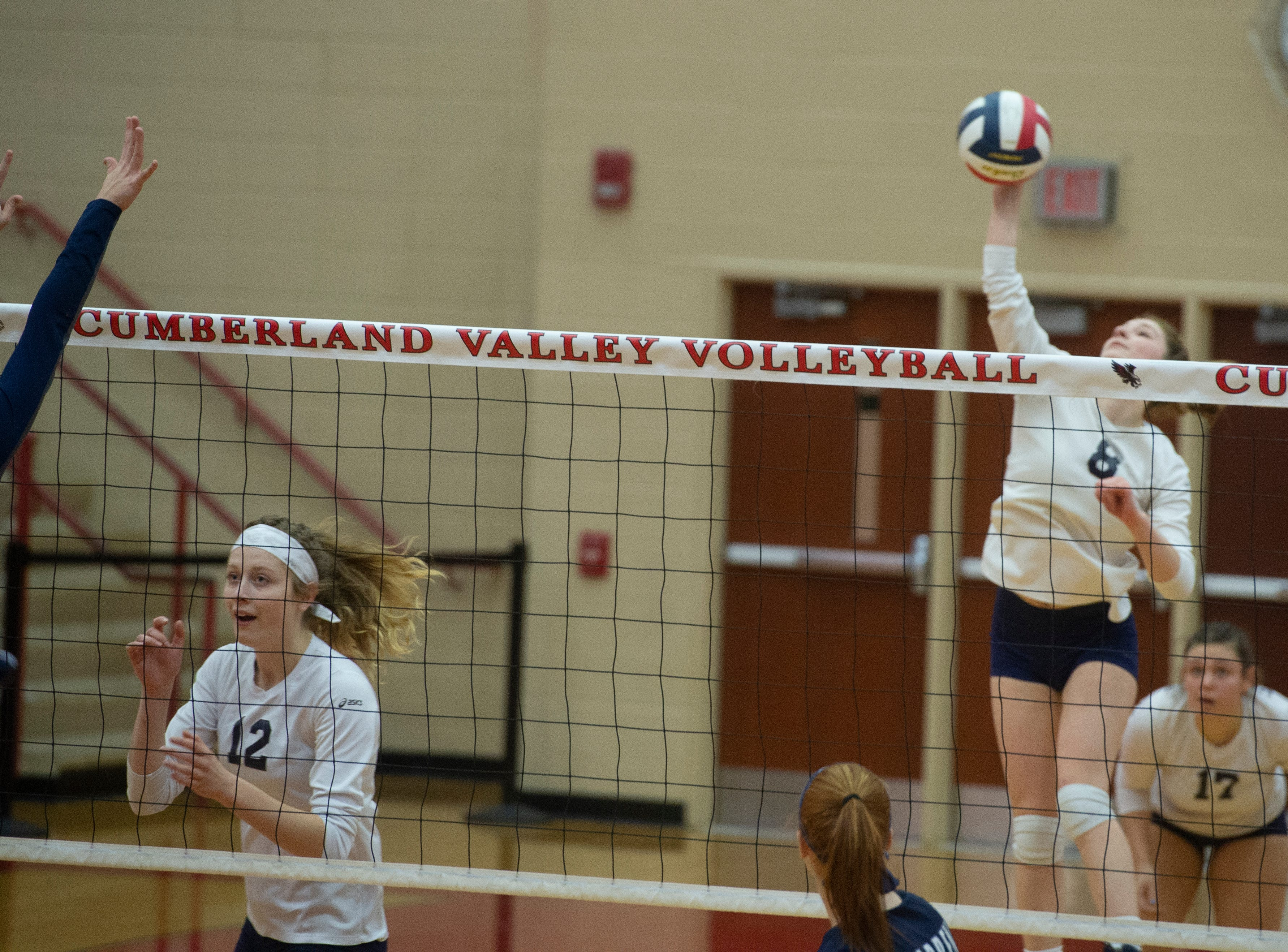 West York's Julia Rill goes on the attack from the back row in Saturday's first game of the Bulldogs' 3-0 win in the PIAA Class 3A girls' volleyball championship.