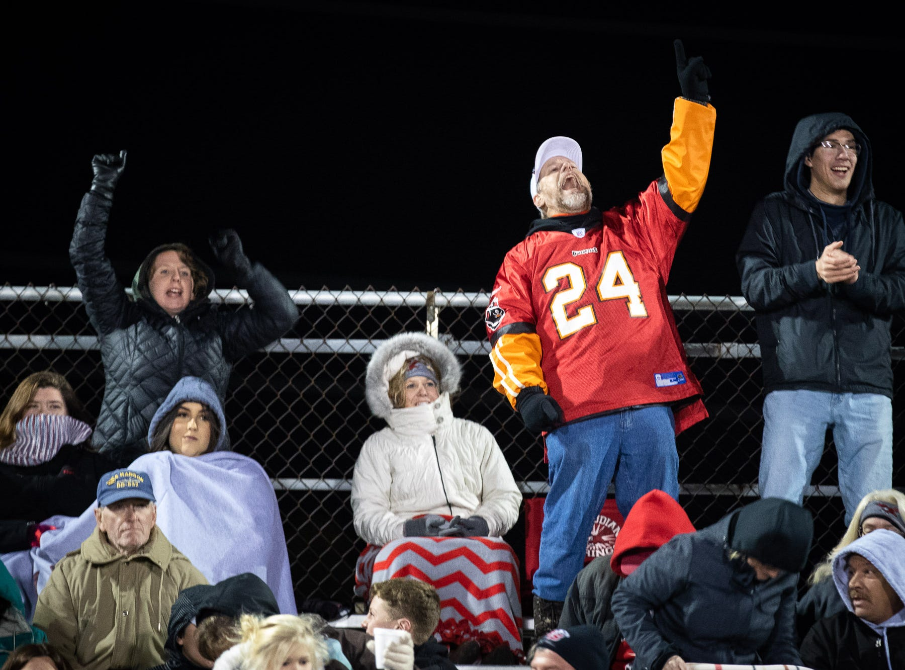 Bermudian Springs fans cheer during the first half of the District 3 Class 3A championship game between Bermudian Springs and Middletown, Saturday, Nov. 17, 2018, at Cedar Crest High School. Middletown leads Bermudian Springs 28-6 at the half.
