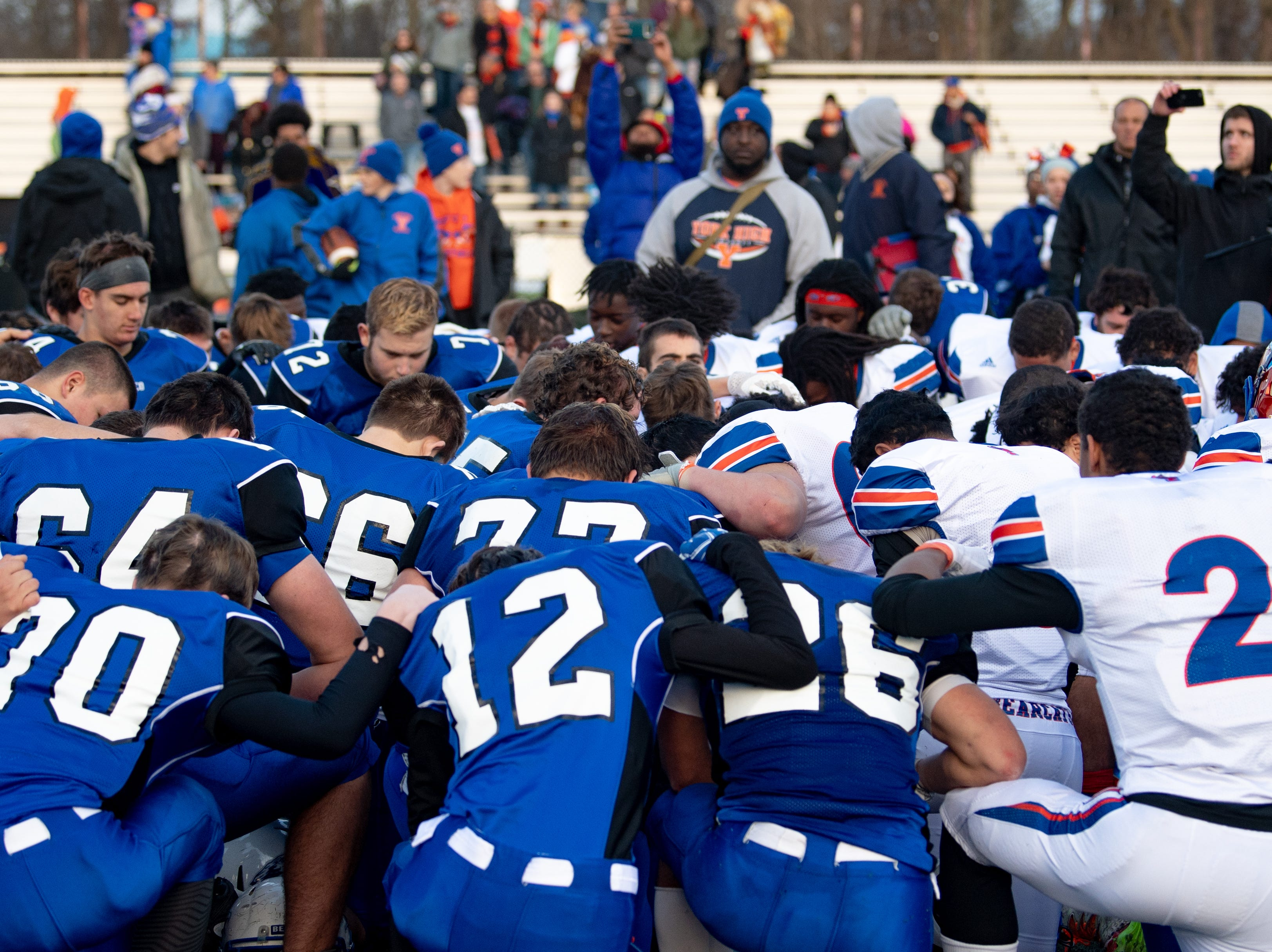 York High and Cocalico got together after the game for prayer, November 17, 2018. The Eagles defeated the Bearcats 61 to 35.