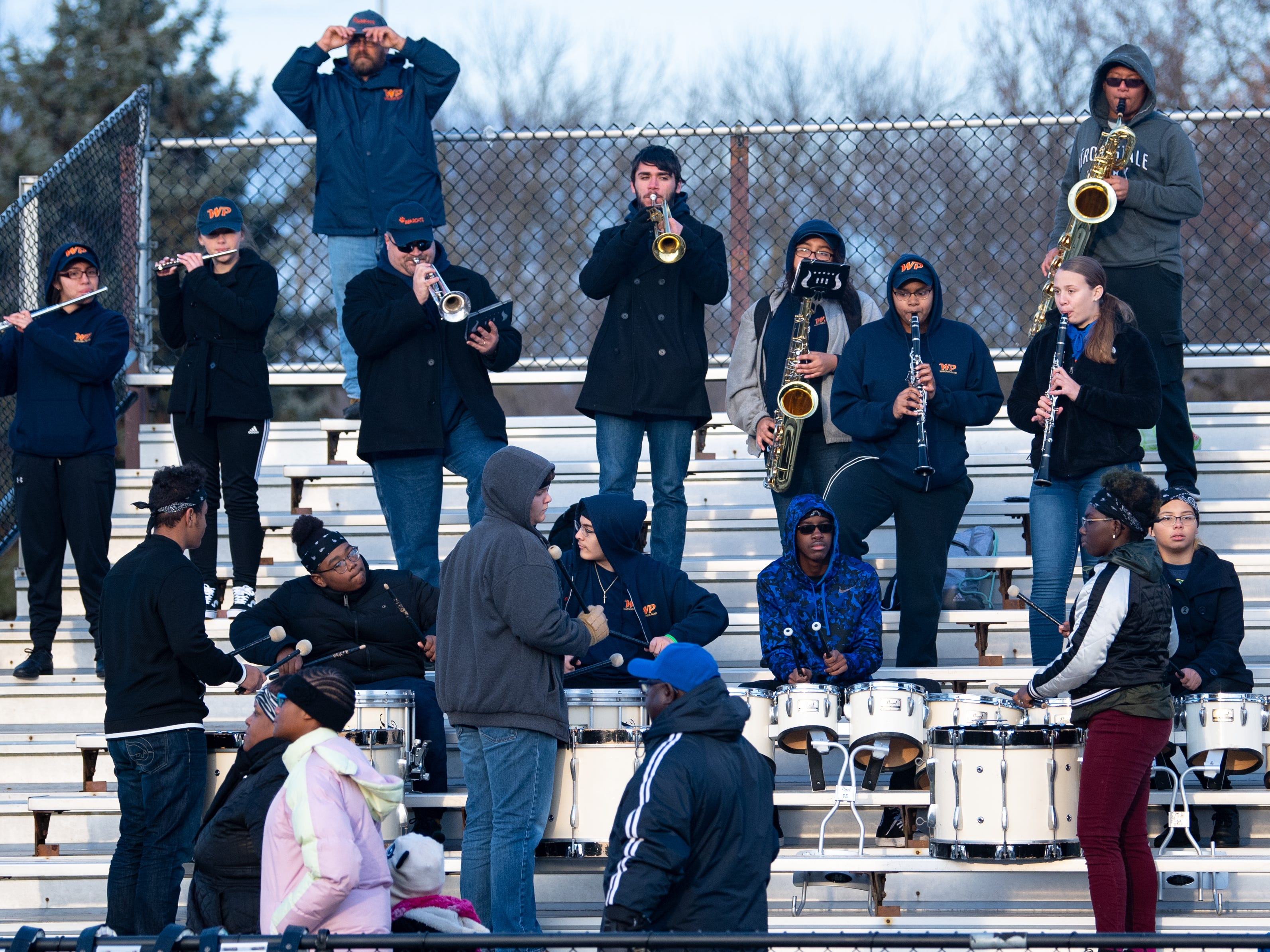 York High's band plays during the District 3 Class 5A football semifinal between York High and Cocalico at Manheim Central High School, November 17, 2018. The Eagles defeated the Bearcats 61 to 35.