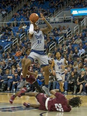 Nevada forward Jordan Caroline shoots against Little Rock in the second half Friday.