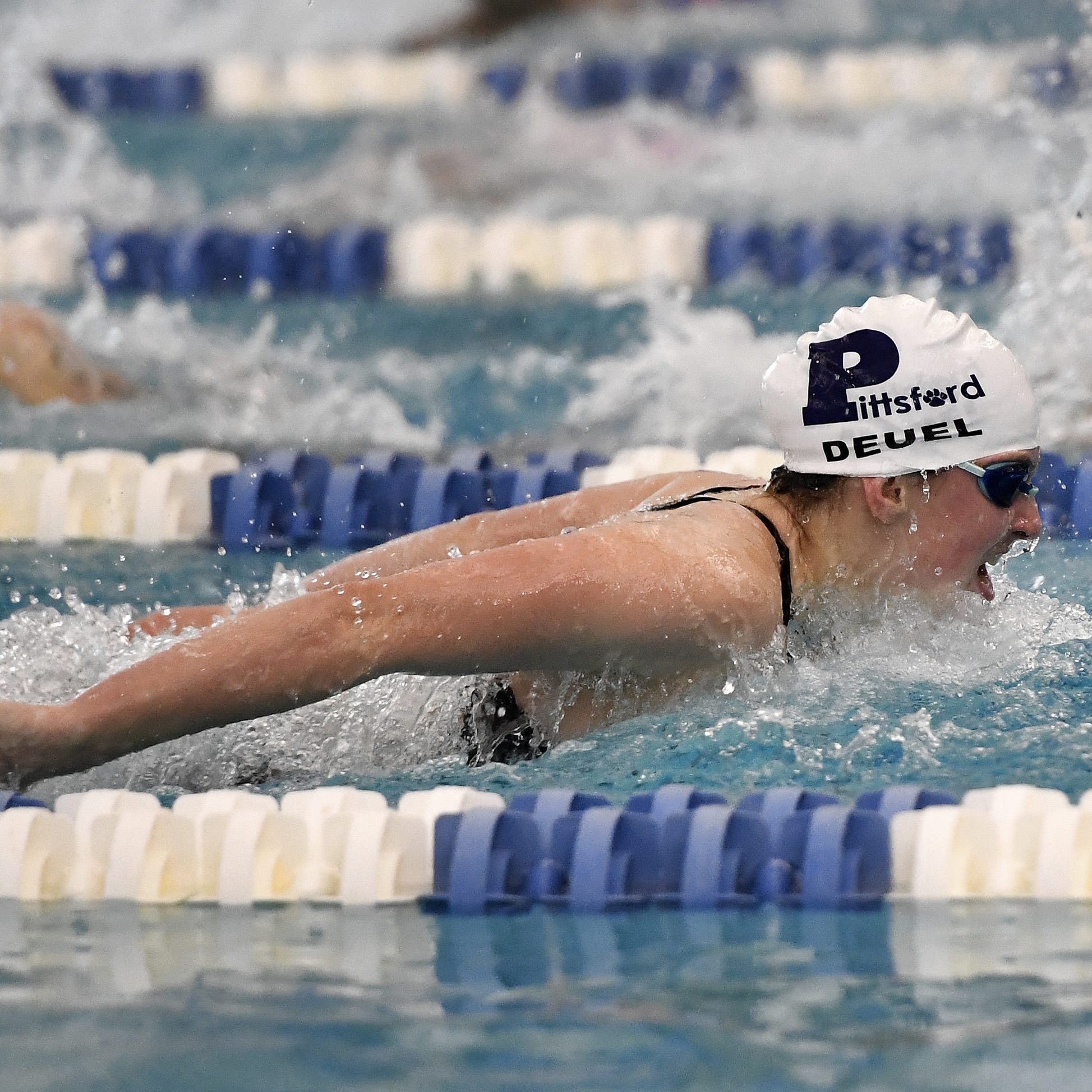 Pittsford's Megan Deuel wins the final of the 100...