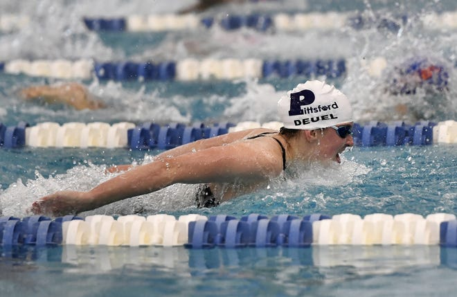 Pittsford's Megan Deuel wins the final of the 100 yard butterfly during the 2018 NYSPHSAA Girls Swimming & Diving Championships in Ithaca Saturday, Nov. 17, 2018.