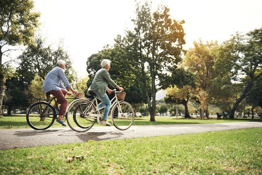 Seniors going for a bicycle ride