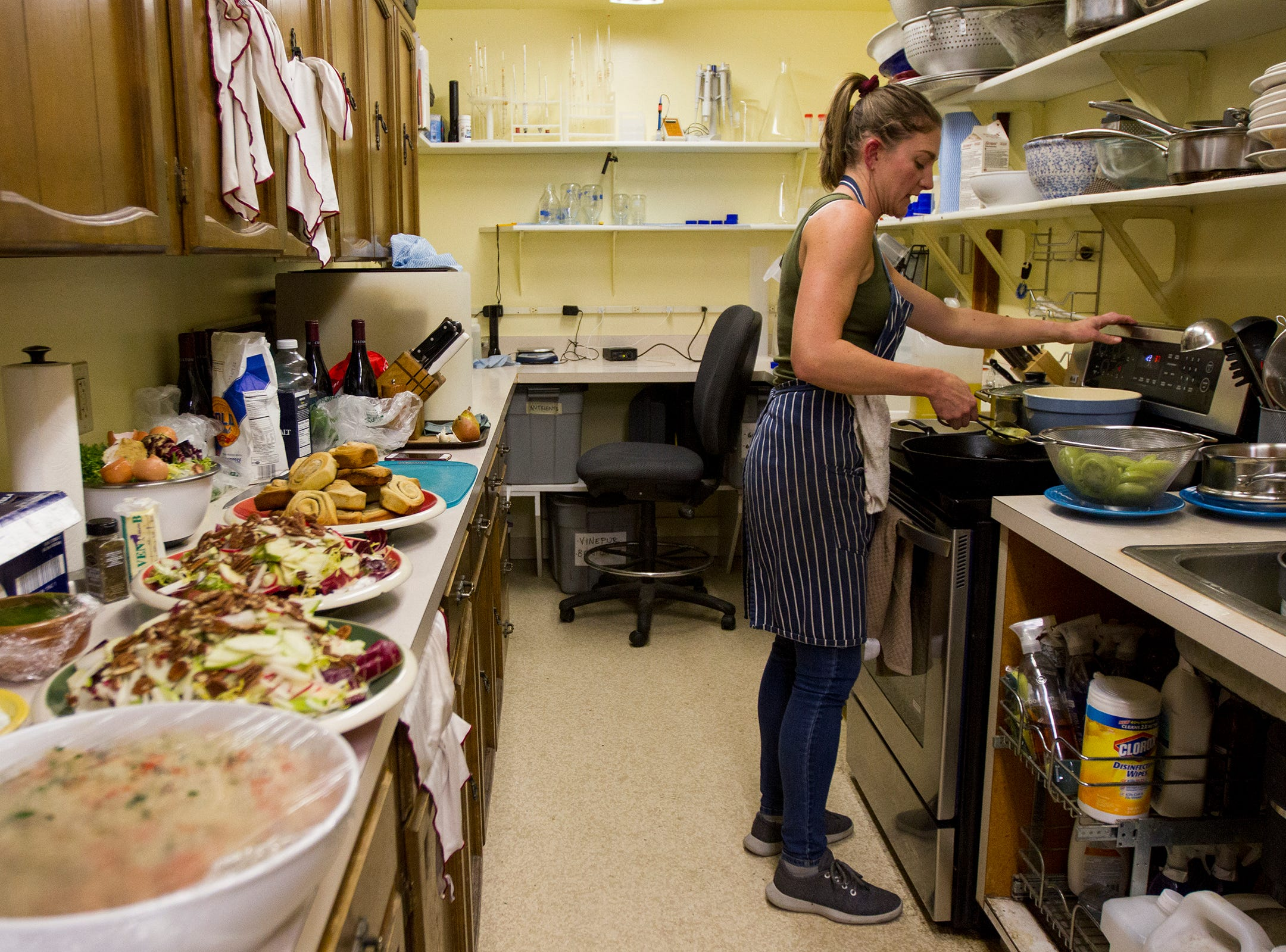 Cristom Vineyards chef Kat LeSueur prepares a meal for harvest workers at Cristom Winery on Tuesday, Oct. 2, 2018. During harvest season Willamette Valley wineries will sometimes hire a chef to cook for a crew working 12-hour days.