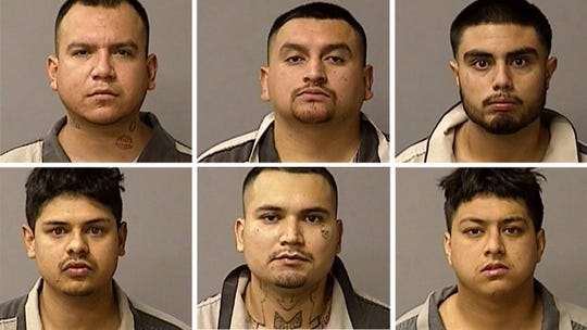 Top row from left to right: Victor Bravo, Moises Garcia and Cesar Lemus; bottom row: Enrique Lopez, Jesus Robledo and Robert Zavala. All are Monterey County residents arrested in connection with planning to rob a Modesto bank on Friday.