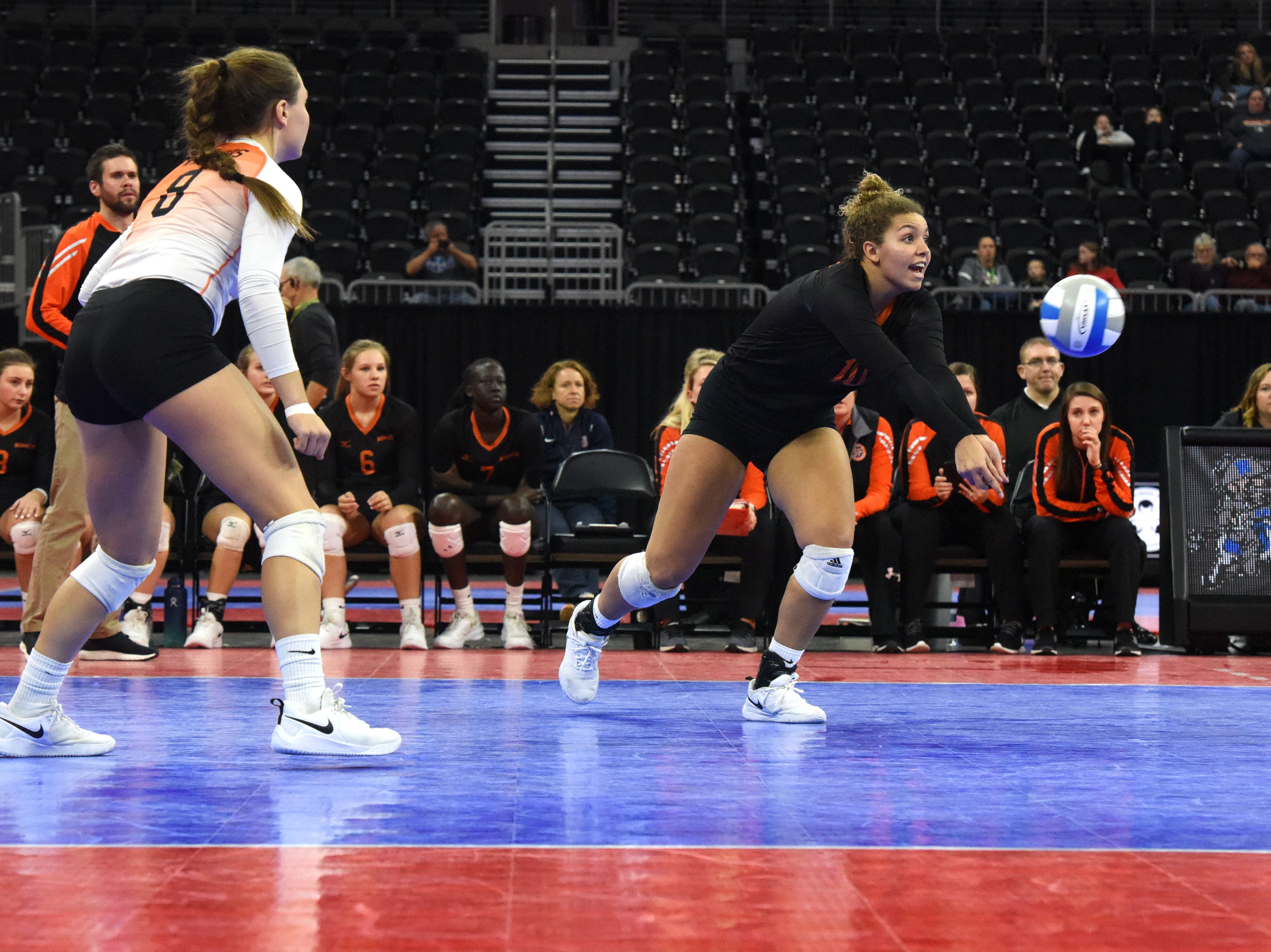 Washington's Samiya Jami (10) bumps the ball during a match against Rapid City, Saturday, Nov. 17, 2018, at the Denny Sanford Premier Center in Sioux Falls, S.D.