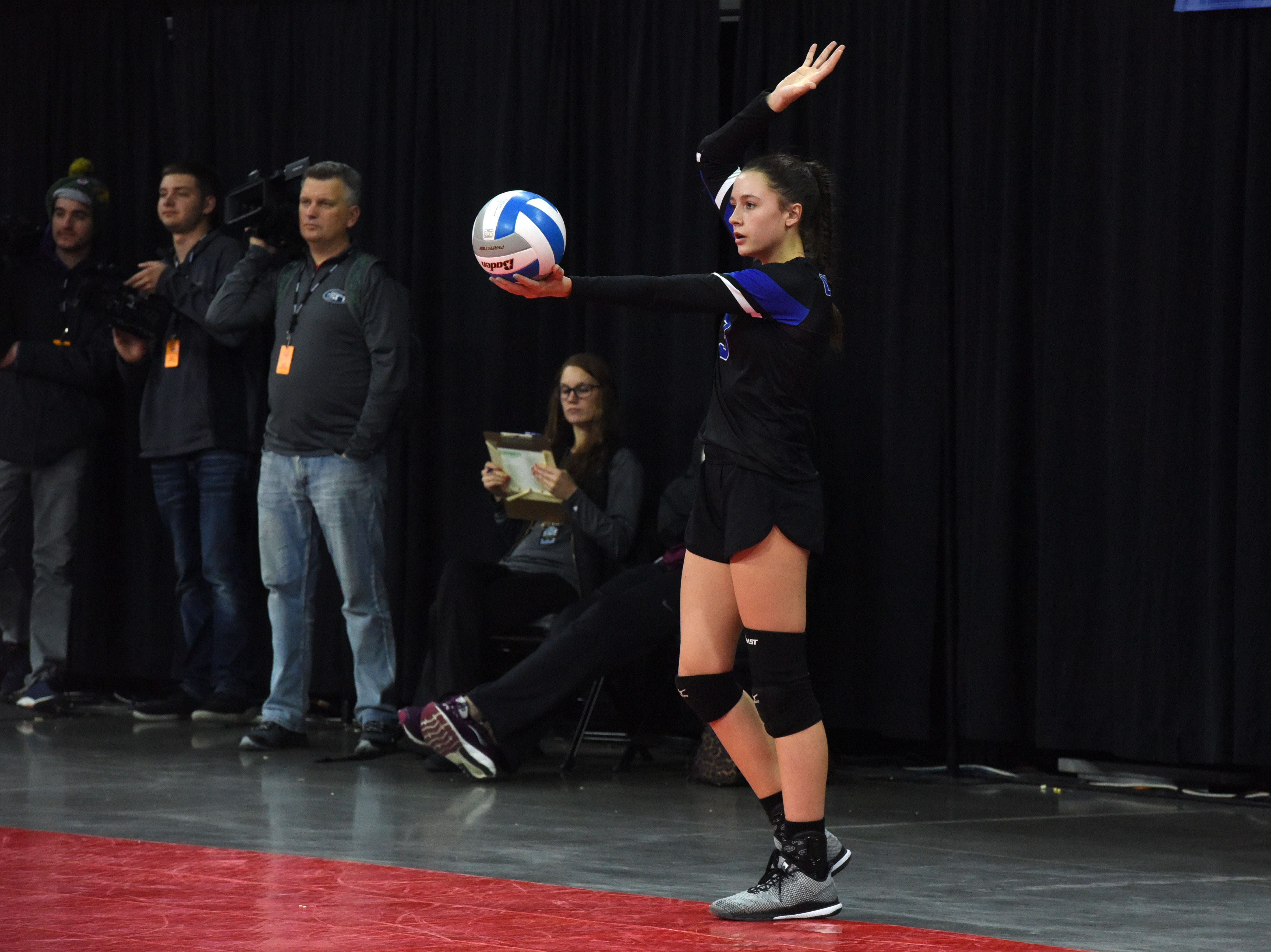 Sioux Falls Christian's Abby Glanzer (3) prepares to serve the ball during a match against Miller, Saturday, Nov. 17, 2018, at the Denny Sanford Premier Center in Sioux Falls, S.D.