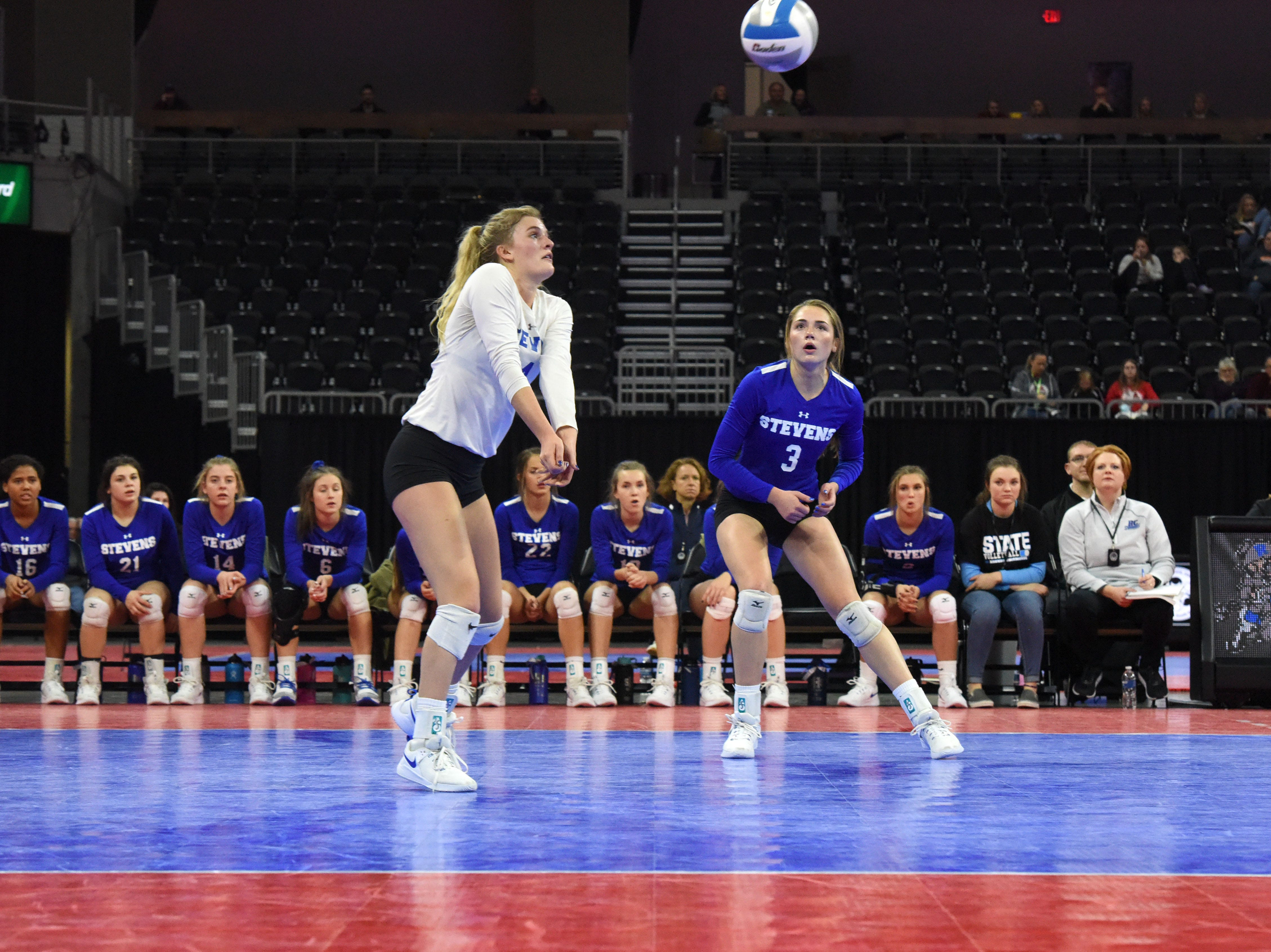 Rapid City's Laura Petik (4) bumps the ball during a match against Washington, Saturday, Nov. 17, 2018, at the Denny Sanford Premier Center in Sioux Falls, S.D.