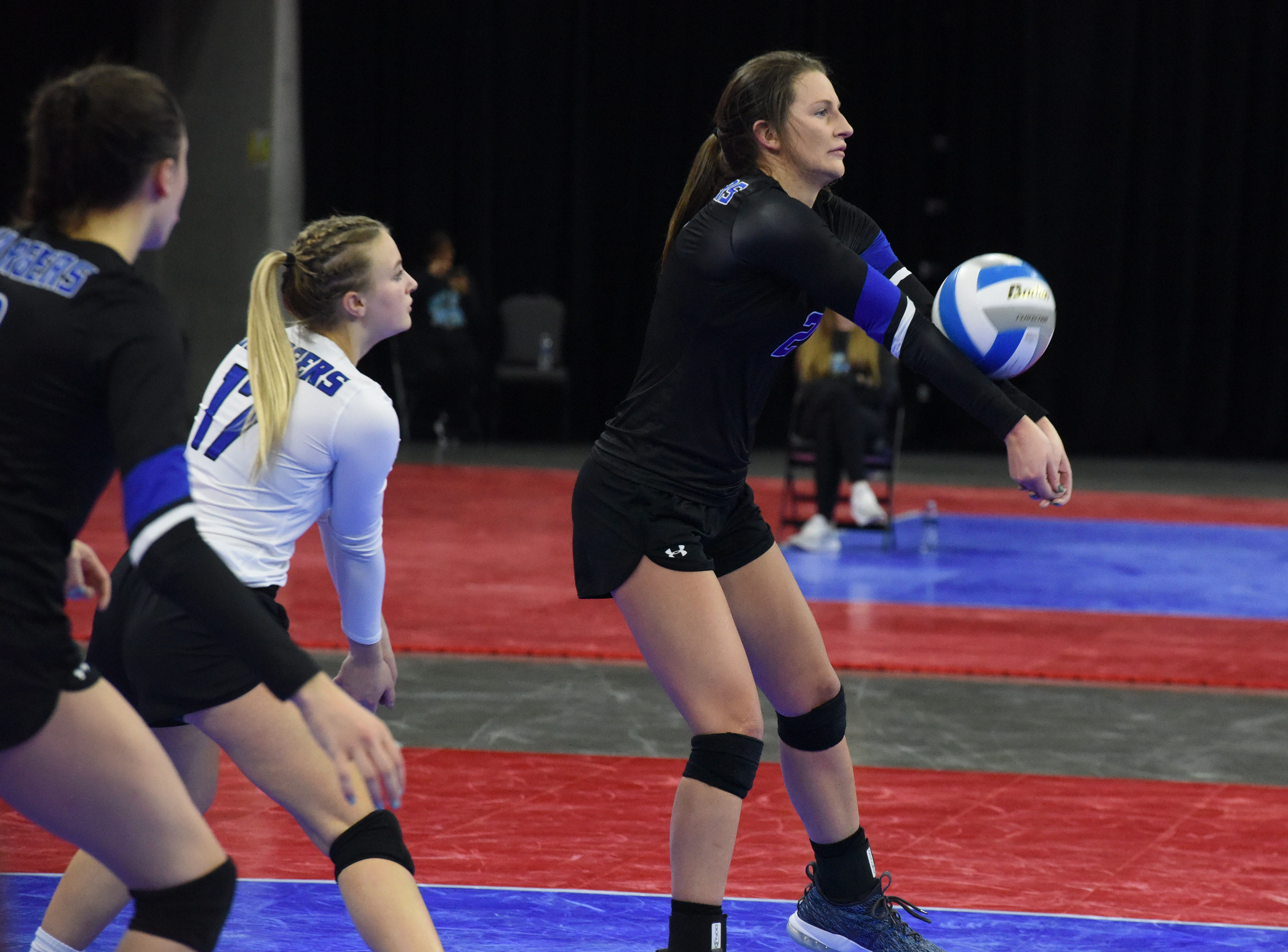 Sioux Falls Christian's Kylee Van Egdom (2) bumps the ball during a match against Miller, Saturday, Nov. 17, 2018, at the Denny Sanford Premier Center in Sioux Falls, S.D.