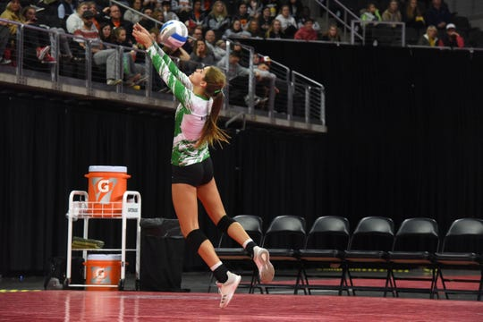 Miller's Kadye Fernholz (6) bumps the ball during a match against Sioux Falls Christian, Saturday, Nov. 17, 2018, at the Denny Sanford Premier Center in Sioux Falls, S.D.