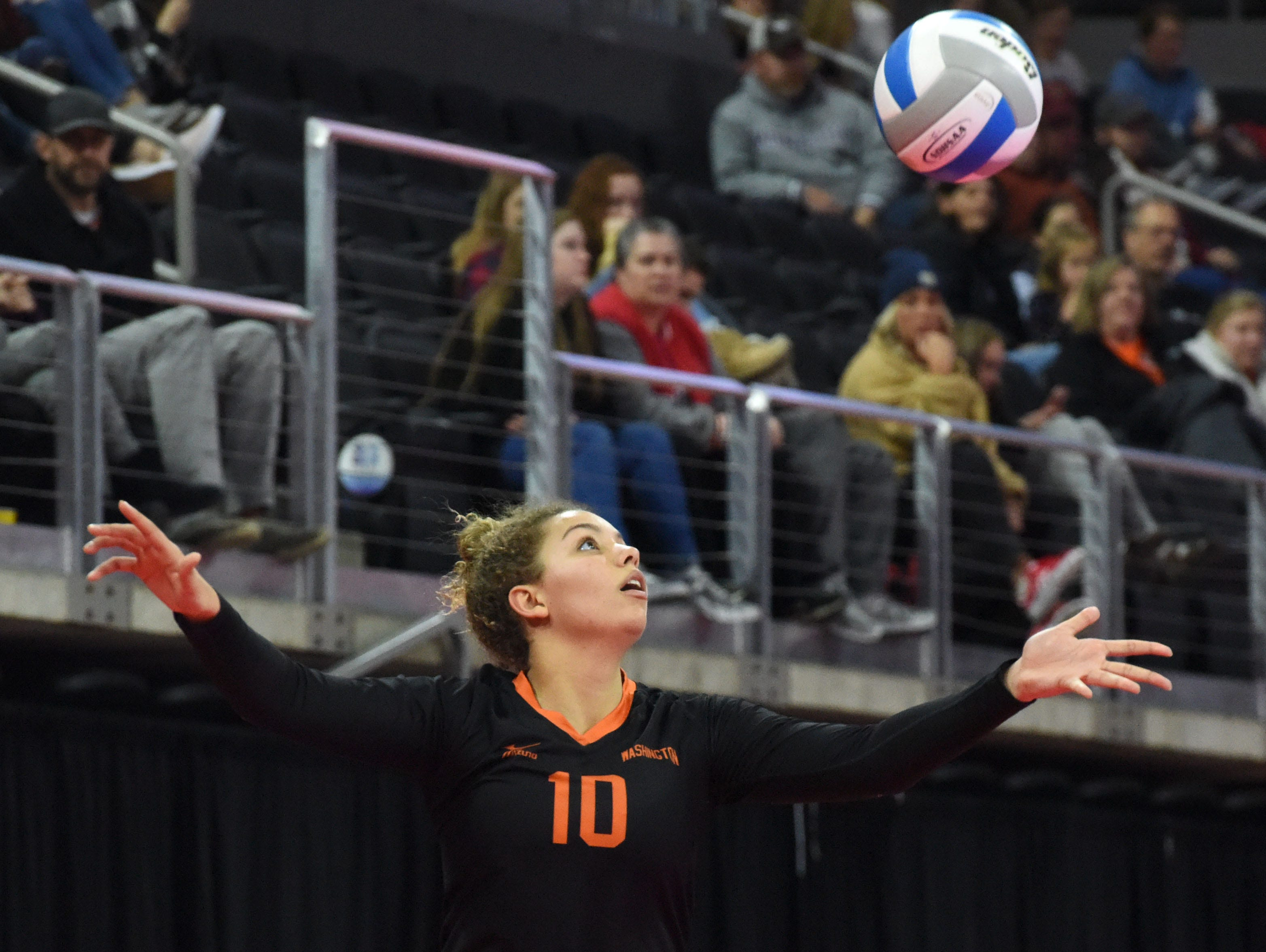 Washington's Samiya Jami (10) serves the ball during a match against Rapid City, Saturday, Nov. 17, 2018, at the Denny Sanford Premier Center in Sioux Falls, S.D.