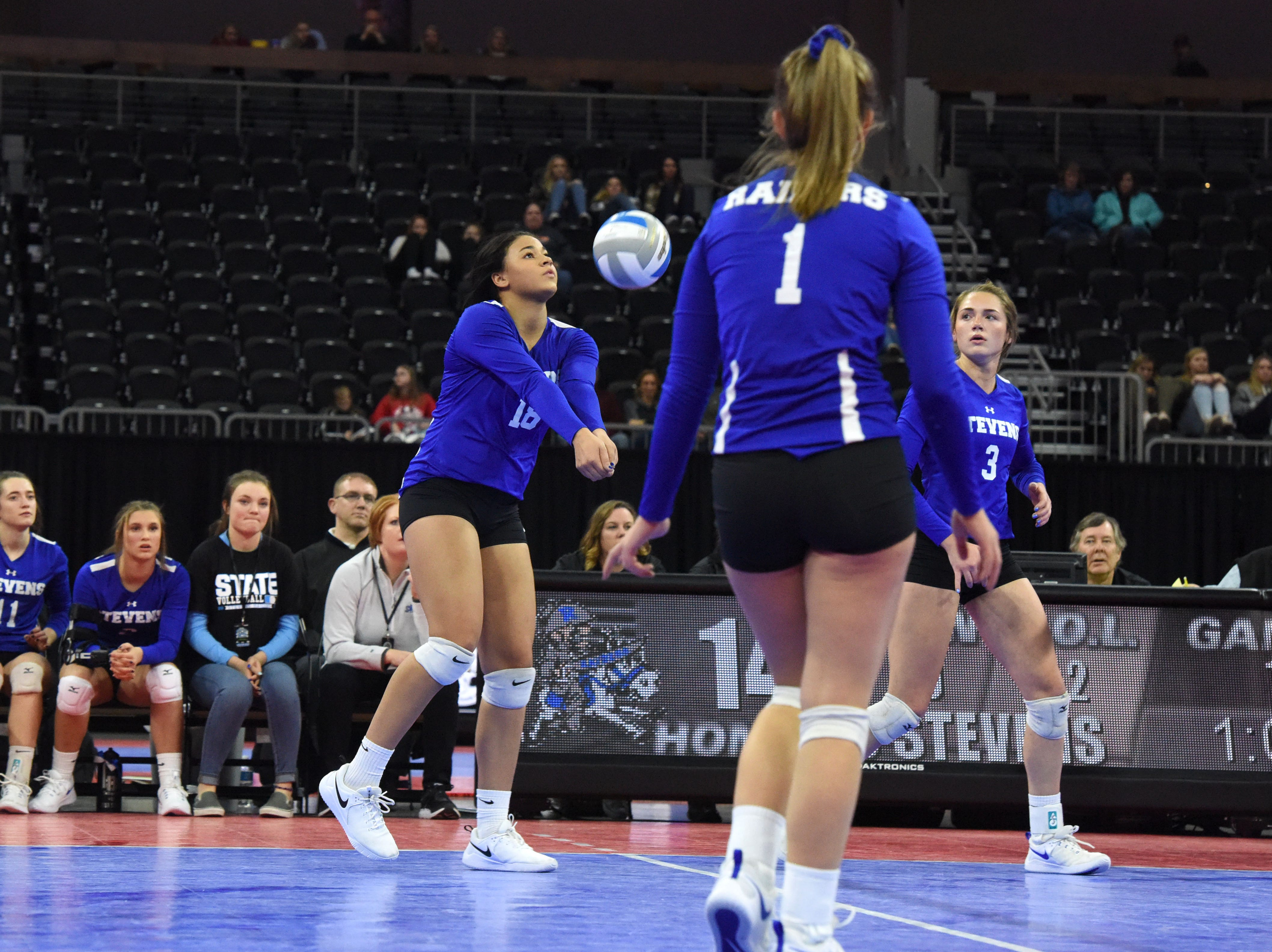 Rapid City's Kyah Watson (18) bumps the ball during a match against Washington, Saturday, Nov. 17, 2018, at the Denny Sanford Premier Center in Sioux Falls, S.D.