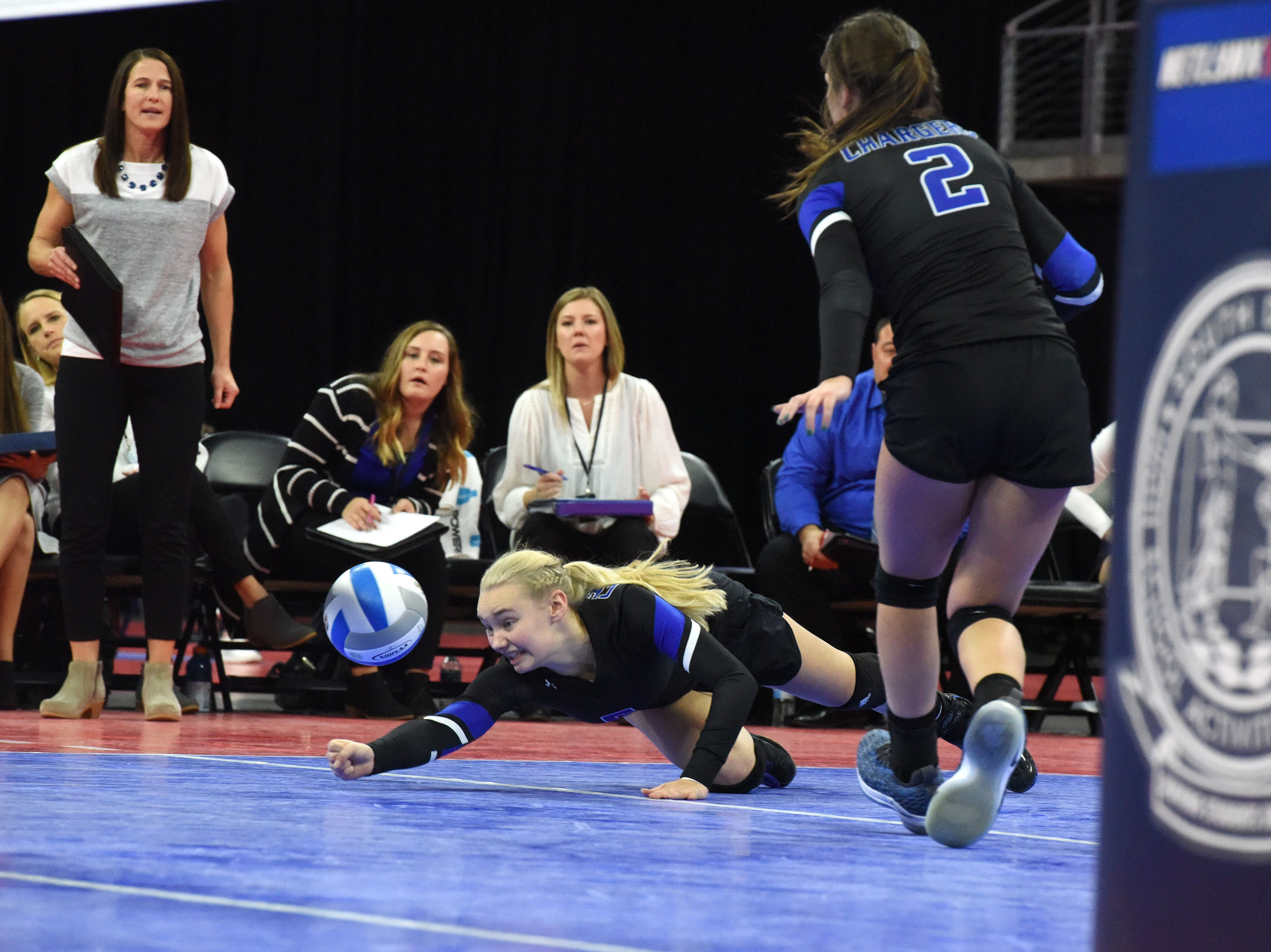 Sioux Falls Christian's Kelsi Heard (5) bumps the ball during a match against Miller, Saturday, Nov. 17, 2018, at the Denny Sanford Premier Center in Sioux Falls, S.D.
