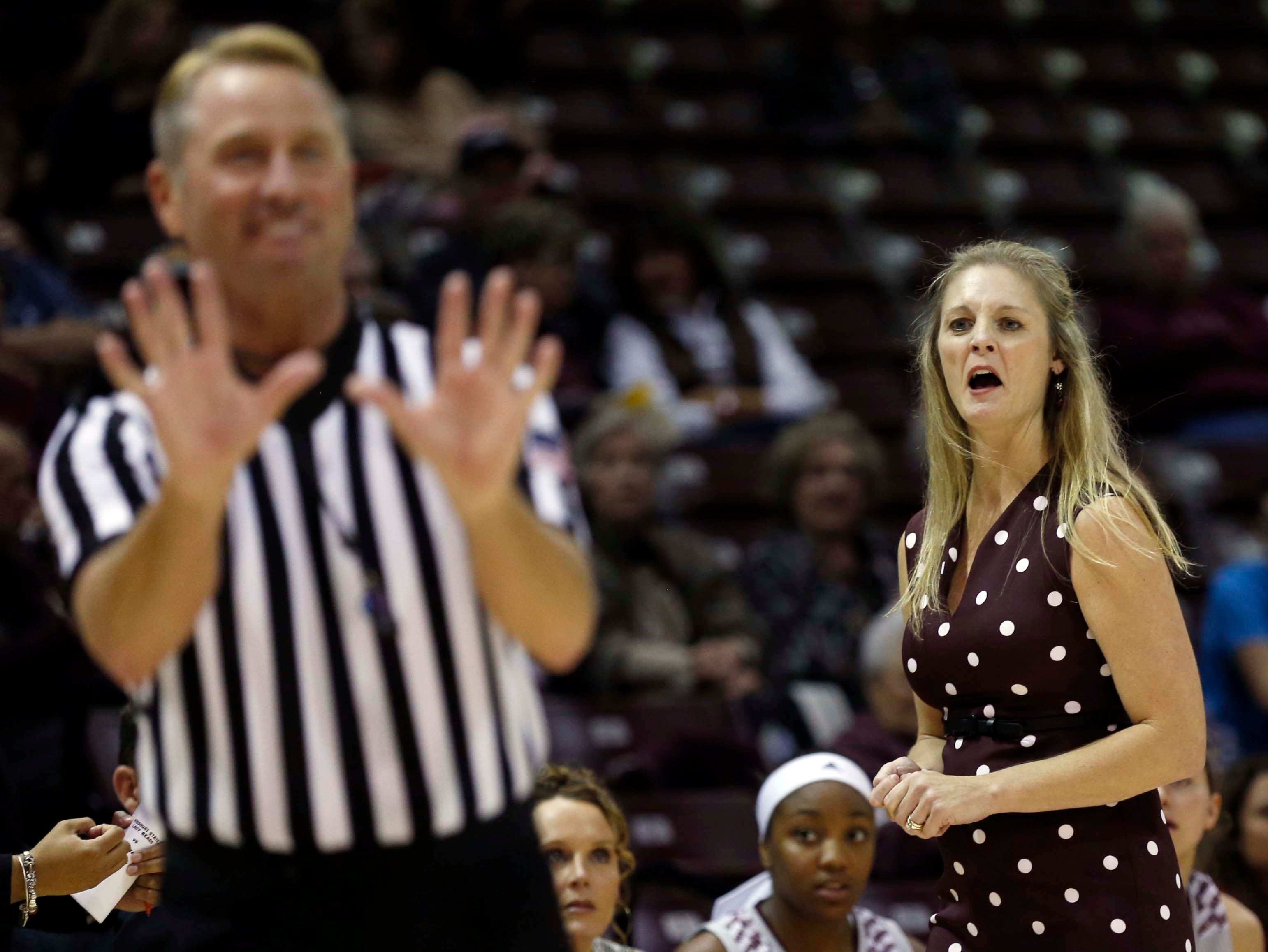 The Missouri State Lady Bears head coach Kelly Harper reacts to a referee's call against Ball State University at JQH Arena in Springfield on November 17, 2018.