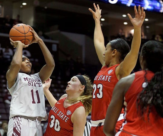 The Missouri State Lady Bears' Brice Calip shoots against Ball State University at JQH Arena in Springfield on November 17, 2018.