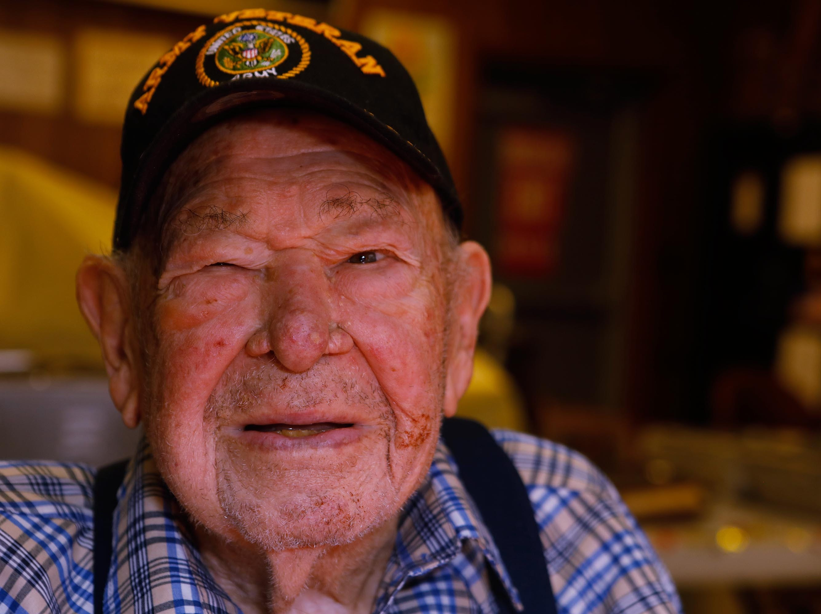 Vince Plaster, a WW ll veteran, was honored for his 100th birthday at VFW Post 3404's annual Thanksgiving dinner Sunday, Nov. 18, 2018