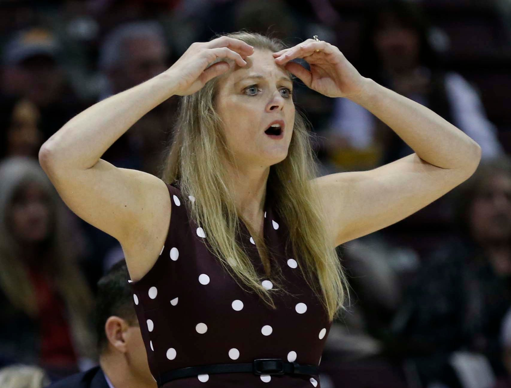 The Missouri State Lady Bears against Ball State University at JQH Arena in Springfield on November 17, 2018. Coach Kellie Harper reacts during the game.