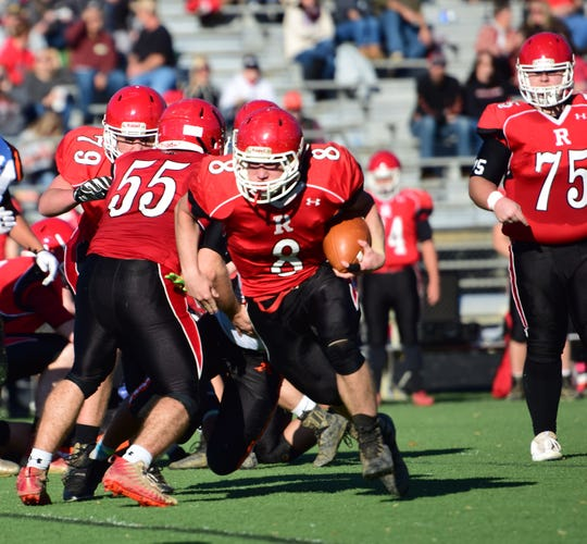 Riverheads' Zac Smiley gets around left end for a big gain during the first half of the Gladiators' VHSL Class 1, Region B football semifinal against Altavista on Saturday, Nov. 17, 2018, at Western Albemarle High School in. Crozet, Va.