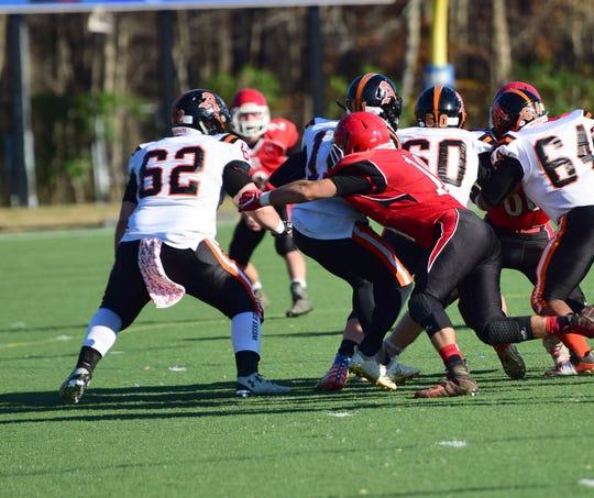 Riverheads' Forrest Shuey sacks Altavista quarterback J.J. Jones during the first half of their VHSL Class 1, Region B football semifinal on Saturday, Nov. 17, 2018, at Western Albemarle High School in. Crozet, Va.