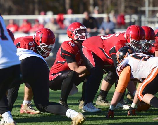Riverheads quarterback Justin McWhorter calls signals during the first half of the Gladiators' VHSL Class 1, Region B football semifinal against Altavista on Saturday, Nov. 17, 2018, at Western Albemarle High School in. Crozet, Va.
