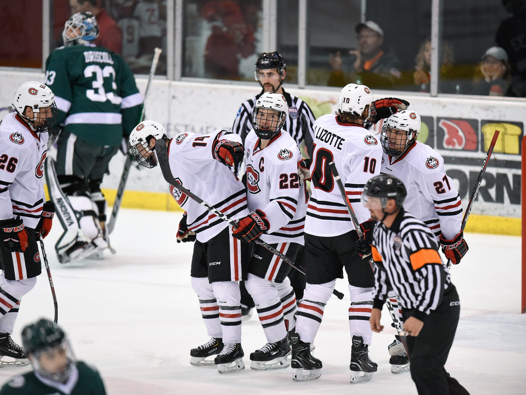St. Cloud State players celebrate a goal during the first period of the Saturday, Nov. 17, game against Bemidji State at the Herb Brooks National Hockey Center in St. Cloud.