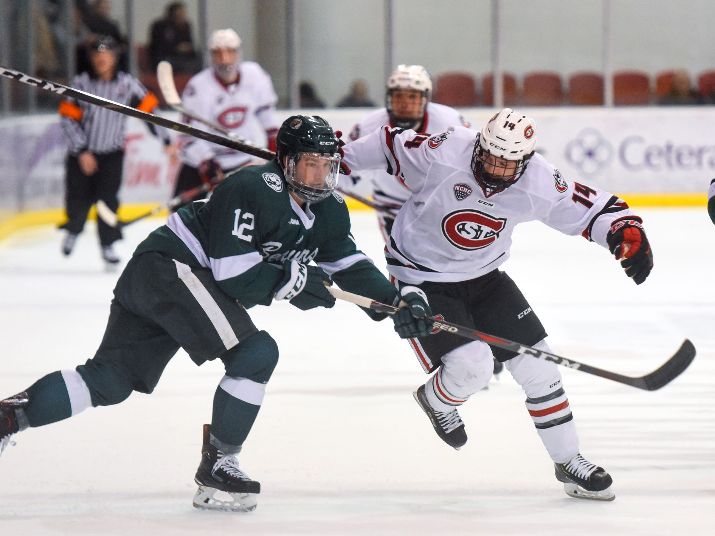 Patrick Newell skates toward the puck during the first period of the Saturday, Nov. 17, game against Bemidji State at the Herb Brooks National Hockey Center in St. Cloud.