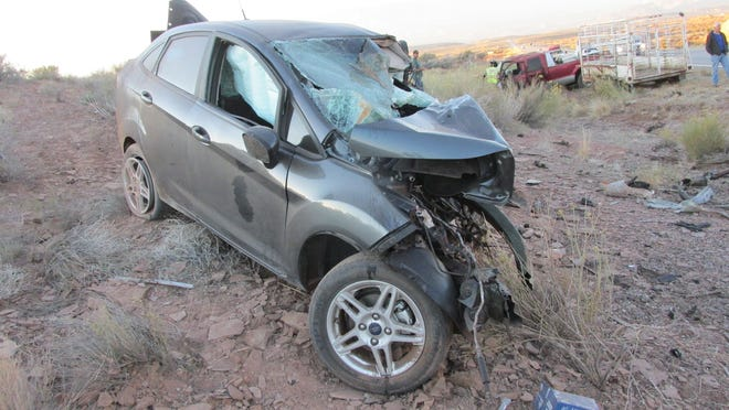 A woman was killed while driving this Ford Fiesta east of Hurricane on Saturday, Nov. 17, 2018. Another driver drifted across from an oncoming lane, hitting the vehicle head-on, according to the Utah Highway Patrol.