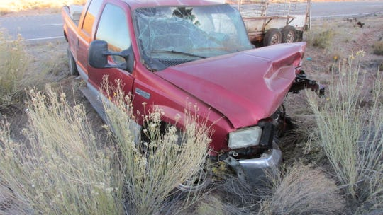A Ford F-250 pulling a trailer was involved in a fatal head-on accident east of Hurricane on state Route 59 on Saturday, Nov. 17, 2018.