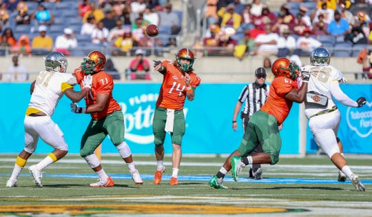 FAMU quarterback Ryan Stanley throws a pass against B-CU in the Florida Classic at Camping World Stadium in Orlando.