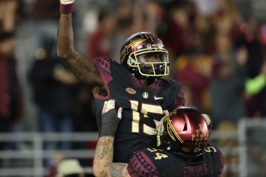 Florida State Seminoles wide receiver Tamorrion Terry (15) celebrates his game winning touchdown as the Florida State Seminoles face off against the Boston College Eagles at Doak S. Campbell Stadium, Saturday, Nov. 17, 2018.