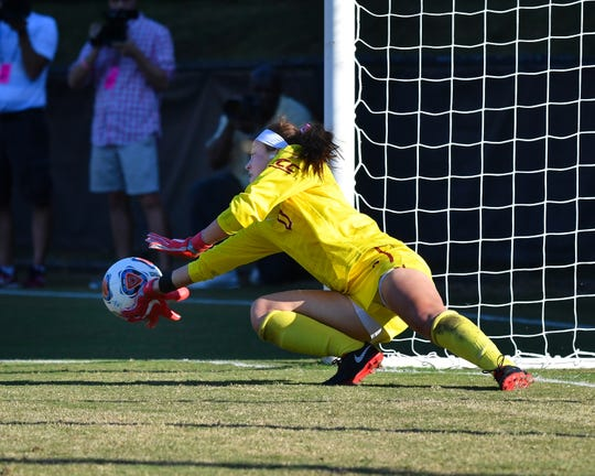 Florida State goalkeeper Caroline Jeffers saved Leah Pruitt's penalty kick to help the Seminoles advance to the NCAA Quarterfinals over USC.