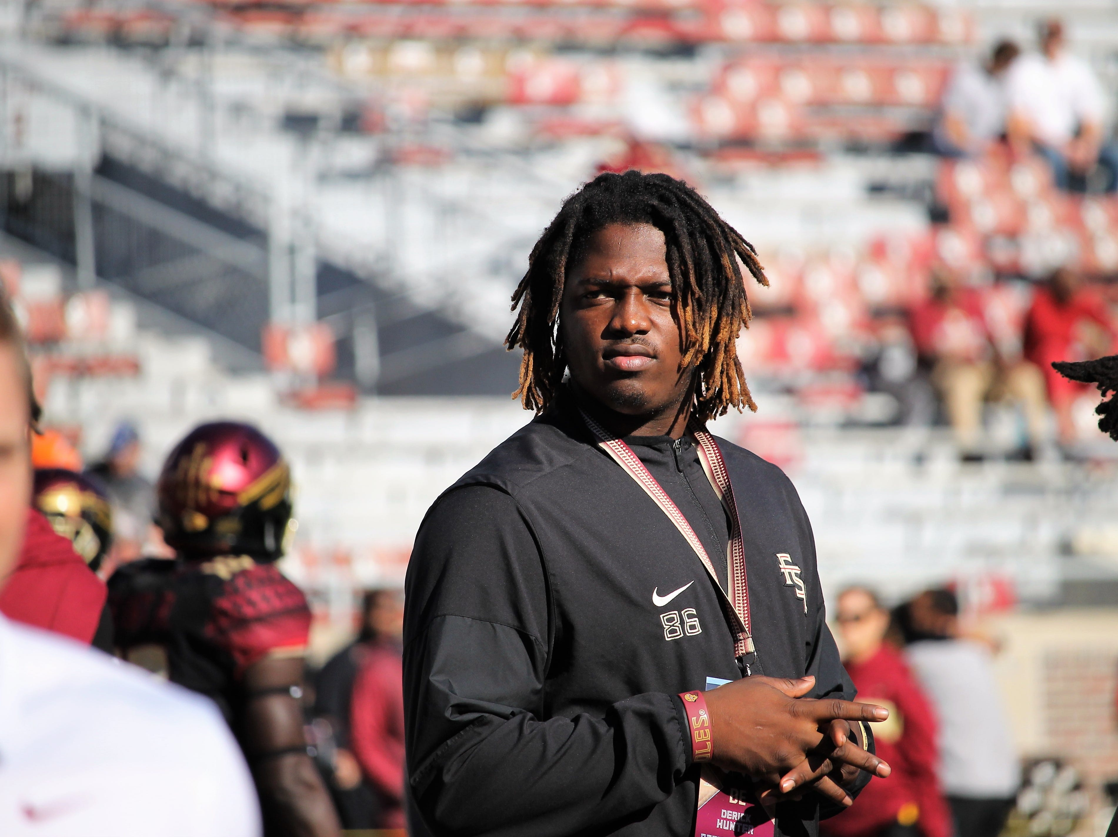 2019 FSU four-star DL commit Derick Hunter on a visit to FSU for the BC game