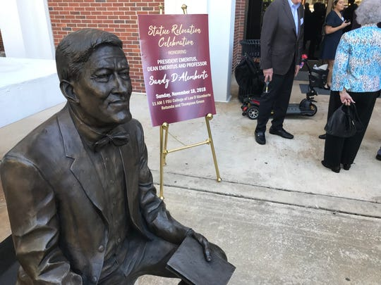 The D'Alemberte Statue, formerly located near the FSU College of Medicine is now housed at the Jefferson Street entrance of the FSU College of Law. A ceremony was held Nov. 18,  2018 to honor the occasion.
