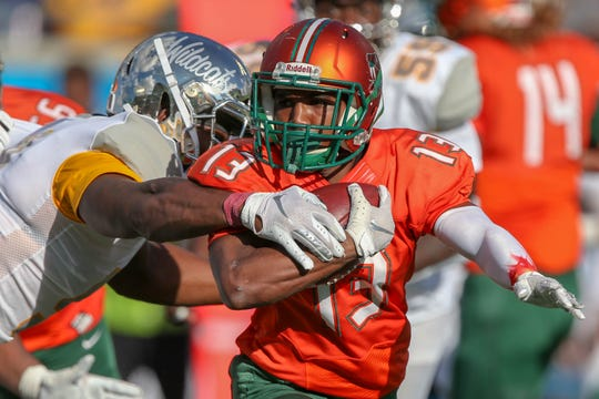 FAMU running back Bishop Bonnett rushed for 26 yards on a sore ankle. The Rattlers dropped their eighth game in a row to Bethune-Cookman in the Florida Classic.