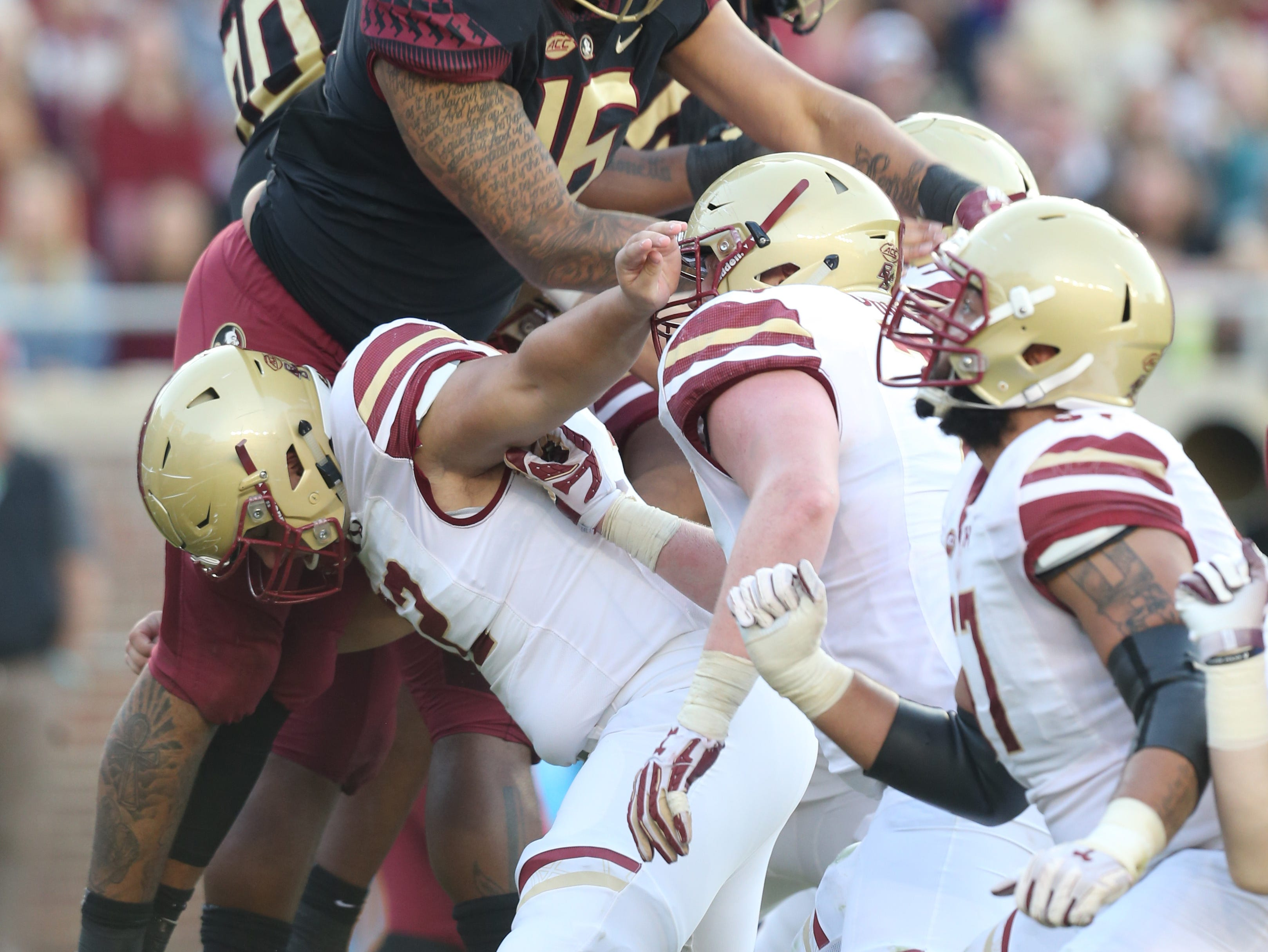 The Seminoles attempt to block the extra point as the Florida State Seminoles face off against the Boston College Eagles at Doak S. Campbell Stadium, Saturday, Nov. 17, 2018.
