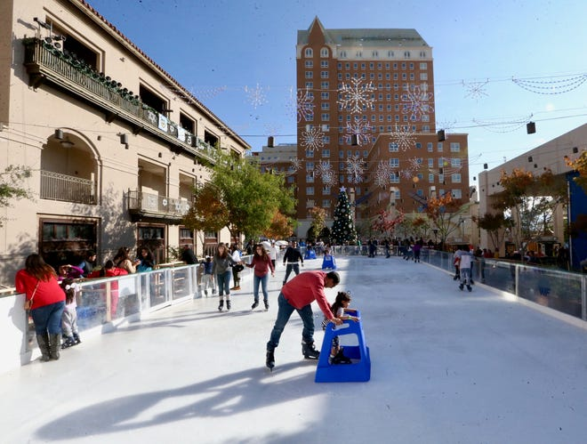 Visitors tried out the ice rink on Sunday during WinterFest 2018.