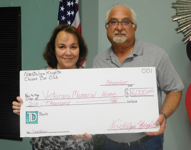 Nostalgia Knights Classic Car Club President Bill Nese recently presented a check for $6,000 to Lisa Williams, director of activities at the New Jersey Veterans Memorial Home in Vineland.